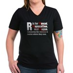 R is for Rascal Women's V-Neck Dark T-Shirt