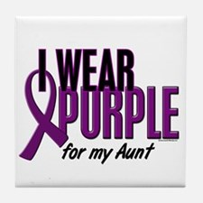 I Wear Purple For My Aunt 10 Tile Coaster