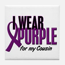 I Wear Purple For My Cousin 10 Tile Coaster