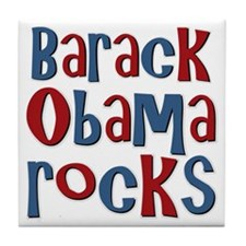 Barack Obama Rocks President Tile Coaster