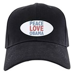 Peace Love Obama President Black Cap