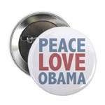 """Peace Love Obama President 2.25"""" Button (100 pack)"""