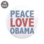 """Peace Love Obama President 3.5"""" Button (10 pack)"""