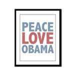 Peace Love Obama President Framed Panel Print