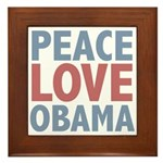 Peace Love Obama President Framed Tile