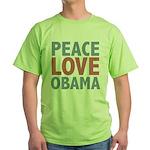 Peace Love Obama President Green T-Shirt