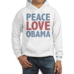 Peace Love Obama President Hooded Sweatshirt