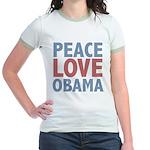 Peace Love Obama President Jr. Ringer T-Shirt