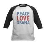 Peace Love Obama President Kids Baseball Jersey