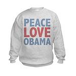 Peace Love Obama President Kids Sweatshirt
