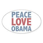 Peace Love Obama President Oval Sticker (50 pk)