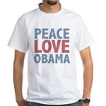 Peace Love Obama President White T-Shirt