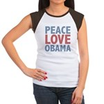 Peace Love Obama President Women's Cap Sleeve T-Sh