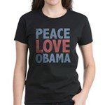 Peace Love Obama President Women's Dark T-Shirt