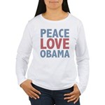 Peace Love Obama President Women's Long Sleeve T-S