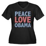 Peace Love Obama President Women's Plus Size V-Nec
