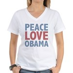 Peace Love Obama President Women's V-Neck T-Shirt