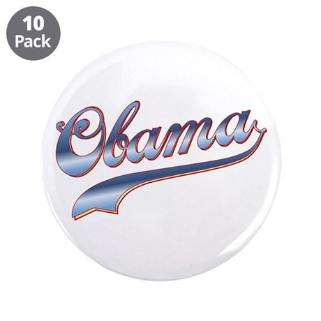 "Obama Baseball Style Swoosh 3.5"" Button (10 pack)"