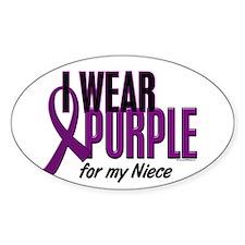 I Wear Purple For My Niece 10 Oval Decal
