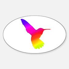 Hummingbird Art Oval Decal
