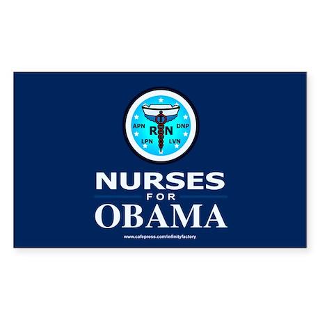 Nurses for Obama Rectangle Sticker