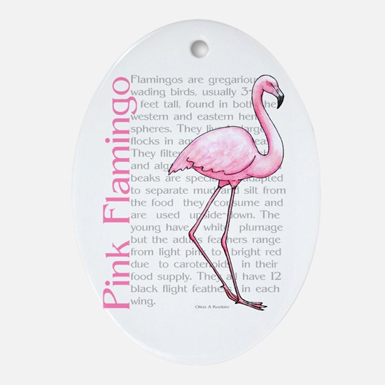 Pink Flamingo Oval Ornament