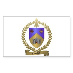 CLOUTIER Family Crest Rectangle Decal