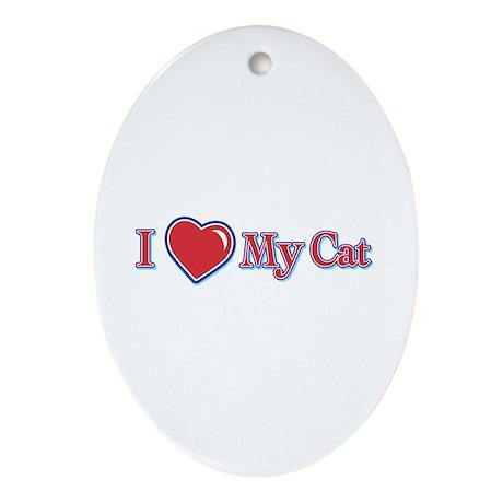 I Heart My Cat Oval Ornament