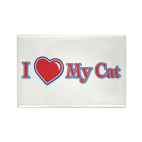 I Heart My Cat Rectangle Magnet (100 pack)