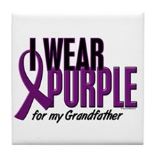 I Wear Purple For My Grandfather 10 Tile Coaster