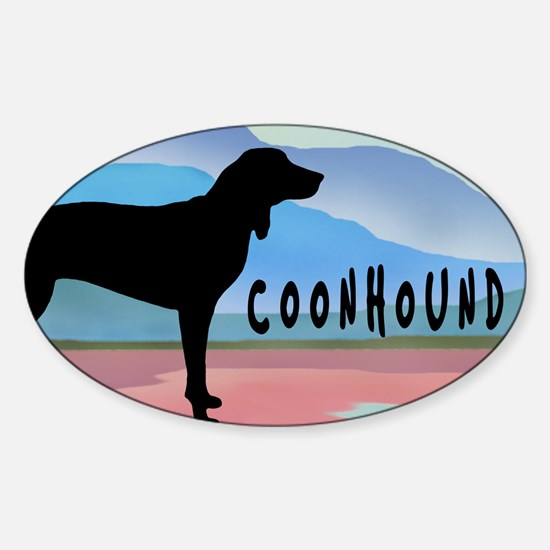 Coonhound Mountains Oval Decal