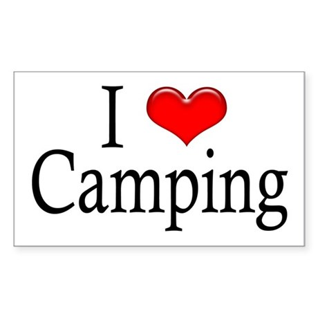I Heart Camping Rectangle Sticker