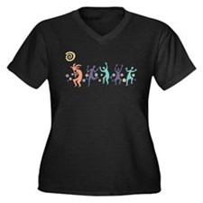 Kokopelli Dancers Women's Plus Size V-Neck Dark T-
