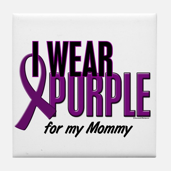 I Wear Purple For My Mommy 10 Tile Coaster