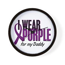 I Wear Purple For My Daddy 10 Wall Clock