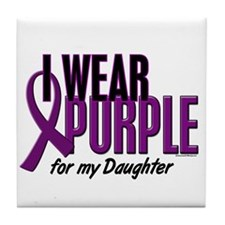 I Wear Purple For My Daughter 10 Tile Coaster