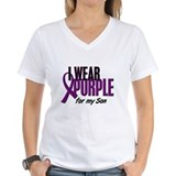 I wear purple for my son Womens V-Neck T-shirts