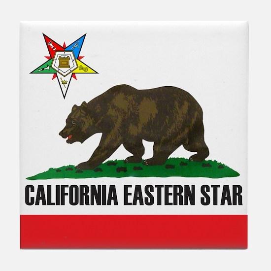 California Flag Eastern Star Tile Coaster