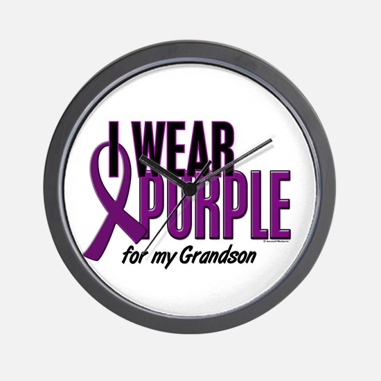 I Wear Purple For My Grandson 10 Wall Clock