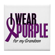 I Wear Purple For My Grandson 10 Tile Coaster