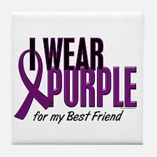 I Wear Purple For My Best Friend 10 Tile Coaster