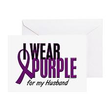 I Wear Purple For My Husband 10 Greeting Card