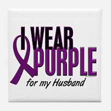 I Wear Purple For My Husband 10 Tile Coaster