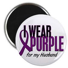 "I Wear Purple For My Husband 10 2.25"" Magnet (100"