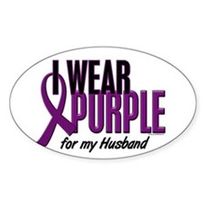 I Wear Purple For My Husband 10 Oval Decal