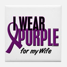 I Wear Purple For My Wife 10 Tile Coaster
