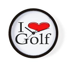 I Heart Golf Wall Clock