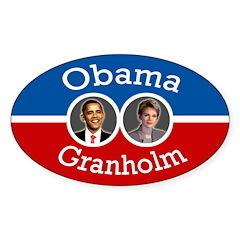 Obama-Granholm 08 oval bumper sticker