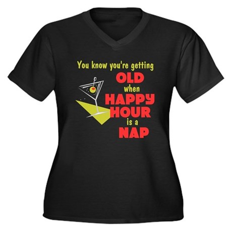 Happy Hour Women's Plus Size V-Neck Dark T-Shirt