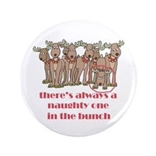 """Naughty Reindeer 3.5"""" Button (100 pack)"""